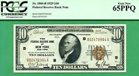1929 $10 FEDERAL RESERVE BANK NOTE   PCGS GEM 65 WITH PPQ   FR 1860 B NEW YORK