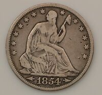 1854 P SEATED LIBERTY SILVER HALF DOLLAR G77