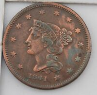 1841 BRAIDED HAIR LARGE CENT Z71