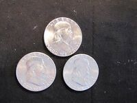 LOT OF 3 HIGH GRADE FRANKLIN SILVER HALF DOLLARS   1962 2X 1963