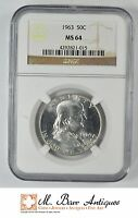 1963 FRANKLIN HALF DOLLAR 90 SILVER   NGC GRADED   MS64 YC559