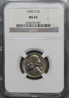 1958 D JEFFERSON NICKEL 5C   NGC MS65 COLORFUL TONING