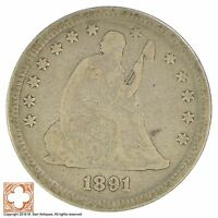 1891 SEATED LIBERTY SILVER QUARTER YB19