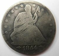 1854 ARROWS SEATED LIBERTY HALF DOLLAR SIVER 50C G NICE EVEN WEAR & TONE 15
