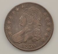 1830 CAPPED BUST LARGE 0 SILVER HALF DOLLAR Q96