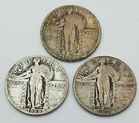 1928 P D S STANDING LIBERTY QUARTERS 90 SILVER NICE COINS