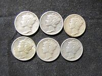 LOT OF 6 MERCURY SILVER DIMES   1938 D 1939 1939 S 1941 1944 1944 S