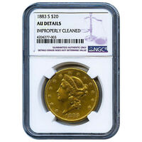 CERTIFIED US GOLD $20 LIBERTY 1883 S AU DETAILS NGC IMPROPERLY CLEANED