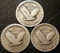 LOT OF 3 STANDING LIBERTY 90 SILVER QUARTERS   1928 1929 1930