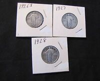 LOT OF 3 STANDING LIBERTY SILVER QUARTERS   1926 S 1927 1928