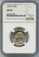 1932 S WASHINGTON QUARTER NGC AU 55   SILVER QUARTER   SAN FRANCISCO MINT SZ078