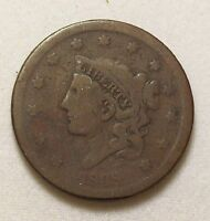 1838 CORONET HEAD LARGE CENT   G VG    1C ONE US COPPER COIN