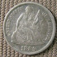 1889 LIBERTY SEATED DIME   NICELY TONED EF