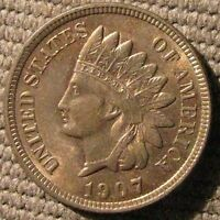 1907 INDIAN HEAD CENT   NEARLY FULL RED CHOICE BU