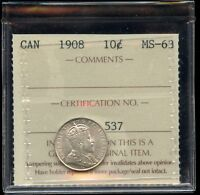 1908 CANADA TEN CENTS   ICCS MS 63 WHITE WITH LUSTRE