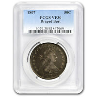 1807 DRAPED BUST HALF DOLLAR VF-30 PCGS