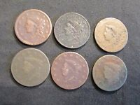LOT OF 6 LARGE CENTS   1833 1822 1838 1829 1837 UNREADABLE