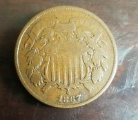 1867 SHIELD 2 CENT PIECE BEAUTIFUL COIN