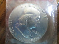FRANKLIN HALF DOLLAR/ 1962 D / HIGH GRADE MINT SEALED COIN/ NICE/ITEM BENF6