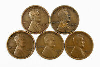 LOT OF 5 1915 D 1C LINCOLN WHEAT CENT PENNIES 109008SEE PHOTOS