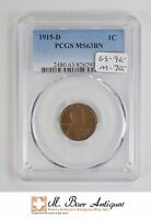 MS63 BN 1915 D CENT LINCOLN WHEAT   GRADED PCGS 4110