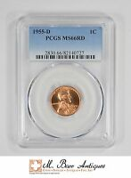 MS66RD 1955 D LINCOLN WHEAT CENT   GRADED PCGS 3365