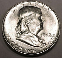 1948 D FRANKLIN SILVER HALF DOLLAR  BRILLIANT WHITE COIN WITH GREAT BELL LINES