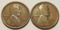 1922 D & 1922 WEAK D LINCOLN WHEAT CENT 2 COIN SET VG