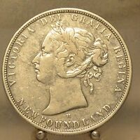 1876 H CANADA NEWFOUNDLAND SILVER 50 CENTS OLD STERLING SILVER WORLD COIN