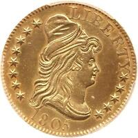 1805 DRAPED BUST 5.00 GOLD HALF EAGLE NGC UNC DETAILS 210YRS OLD