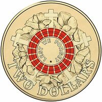AUSTRALIAN TWO DOLLAR $2 COIN   2015 ANZAC RED REMEMBRANCE LEST WE FORGET   UNC
