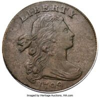 1799 DRAPED BUST LARGE CENT, PCGS GRADED VF DETAILS, GREAT DATE, HAIR & DETAILS
