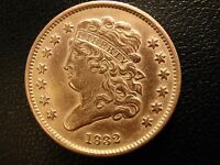 1832 CLASSIC HEAD HALF CENT, ALMOST UNCIRCULATED DETAILS