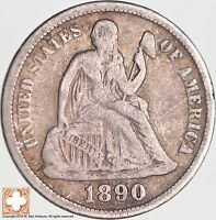 1890 SEATED LIBERTY SILVER DIME 5260