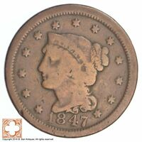 UNCIRCULATED 1847 BRAIDED HAIR LARGE CENT SB36