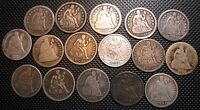 SEATED LIBERTY DIMES COLLECTION, STARTER SET W/ 16 DIFFERENT DIMES