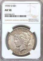 1935-S NGC AU58 TONED PEACE DOLLAR  BETTER DATE ABOUT UNCIRCULATED