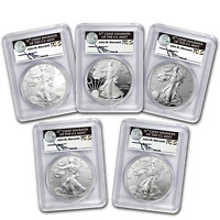 2011 5 COIN SILVER EAGLE SET MS/PR 70 PCGS  FS MERCANTI 25TH    SKU 68281