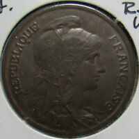 1920 FRENCH 10 CENTIMES  SEMI KEY DATE IN CHOICE BROWN UNCIRCULATED