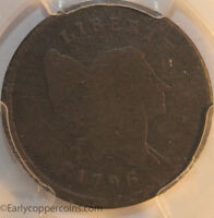 1796 C2 R4 LIBERTY CAP HALF CENT WITH POLE PCGS AG3 FULL BOLD DATE THE KEY