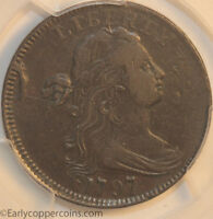 1797 S131 R2 DRAPED BUST LARGE CENT NO STEMS PCGS VF35 STEMLESS REVERSE REDBOOK