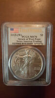 AUCTION 3   2013 AMERICAN SILVER EAGLE WEST POINT STRUCK PCGS 70 FIRST STRIKE