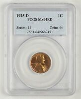 MINT STATE 64RD 1925-D LINCOLN WHEAT CENT - PCGS GRADED 2041