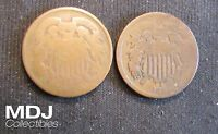LOT OF 2 1864 2 CENT PIECES COINS