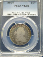 1806/5 DRAPED BUST QUARTER 25C PCGS VG8