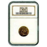 CERTIFIED US GOLD $3 1878 MS60 NGC