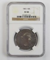 EXTRA FINE 40 1803 DRAPED BUST HALF DOLLAR - NGC GRADED 0800