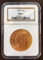 1896 $20 MS 61 LIBERTY HEAD GOLD COIN  NGC CERTIFIED