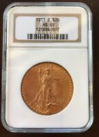 1911 ST. GAUDENS $20 MS 65 GOLD COIN NGC CERTIFIED