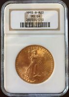 1915 S $20 ST. GAUDENS MS 64 GOLD COIN  NGC CERTIFIED